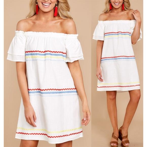 a2c1137ec38c White 100% Cotton Off Shoulder Ruffle Shift Dress